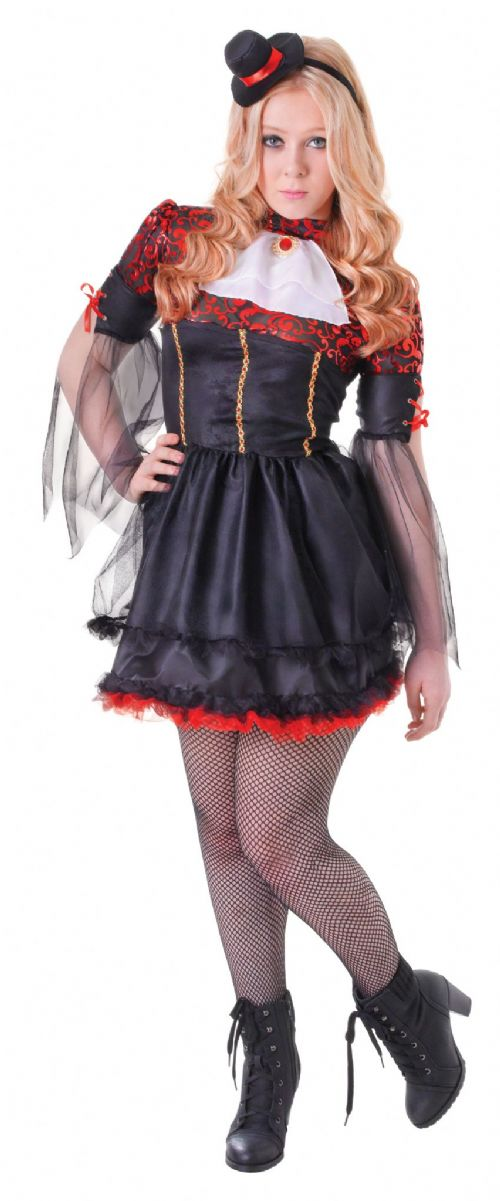 Childs Vamp Girl Costume Vampire Dracula Halloween Fancy Dress Outfit